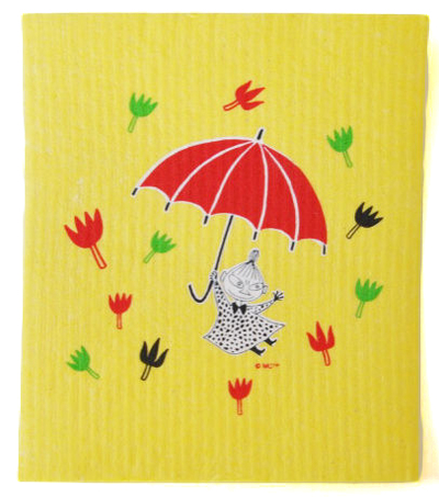 Moomin dish cloth, Little My & umbrella, yellow
