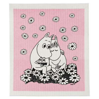 Moomin dishcloth, Love, pink