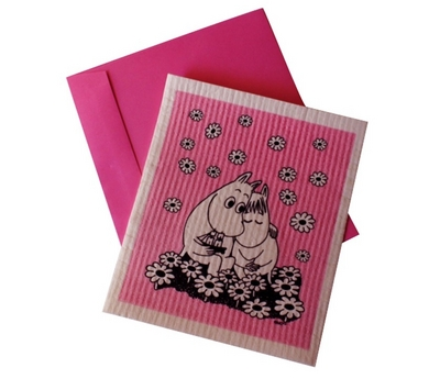 "Moomin dishcloth ""card"", Love, pink"