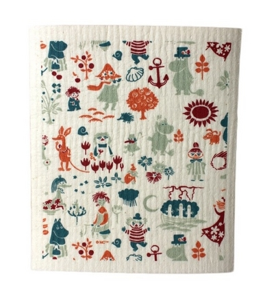 Moomin dishcloth Moomin pattern, orange