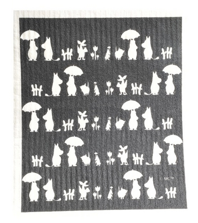 Moomin dishcloth siluette, black