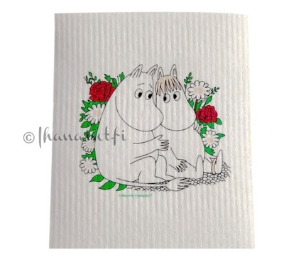 Moomin dishcloth. Love, white