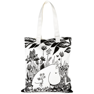 Moomin eco bag Flower field, black/white