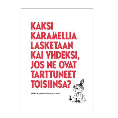 """Moomin embossed greeting card 1-part, text: """"two caramels..."""""""