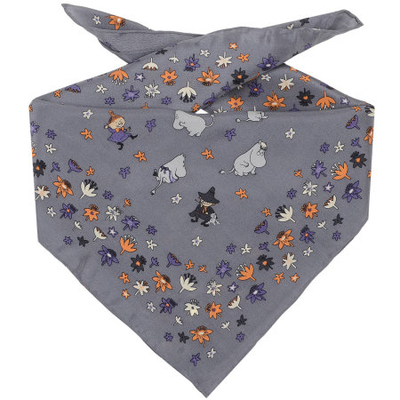 Moomin flower meadow silk scarf, grey