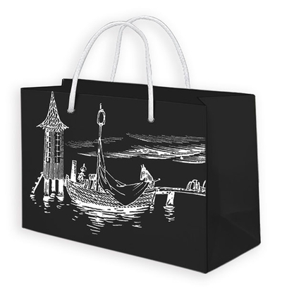 Moomin gift bag, Swimming hut, black