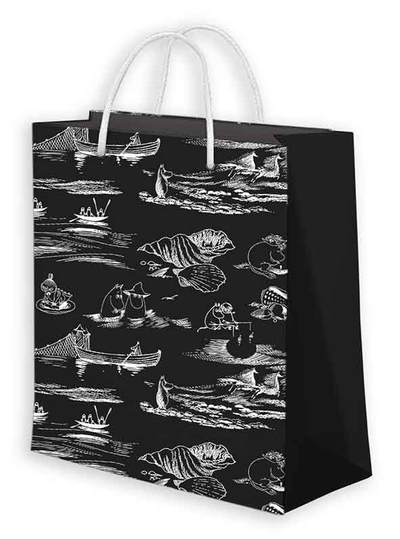 Moomin gift bag BIG sea pattern, black