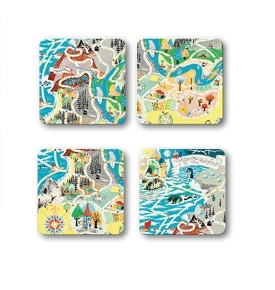Moomin glass coaster, Japan map, 4pcs set