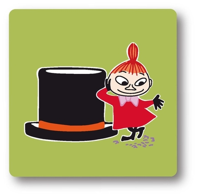 Moomin glass coaster, Little My and Top hat, green