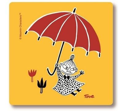 Moomin glass coaster Little My and Umbrella, yellow