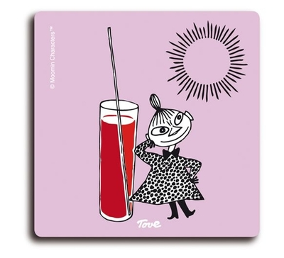 Moomin glass coaster Little My and lemonade, lilac