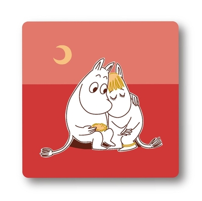 Moomin glass coaster Love, red