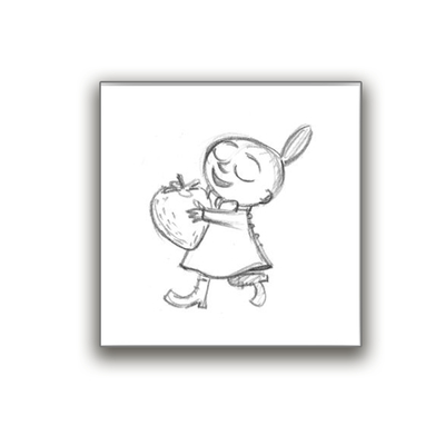 Moomin glass coaster Sketch Little My and Strawberry
