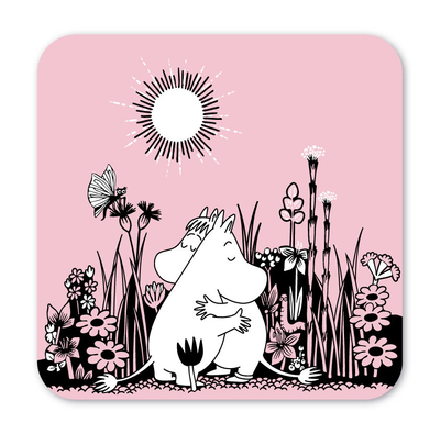 Moomin hug glass coaster, set of 4pcs