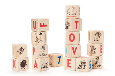 Moomin letter blocks with Finnish alphabet