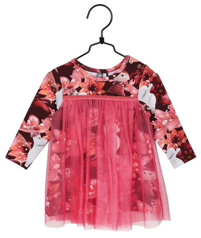 Moomin magenta flower baby's dress with laces