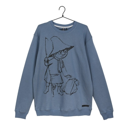 Moomin men's Sketch jersey knit shirt Snufkin, blue