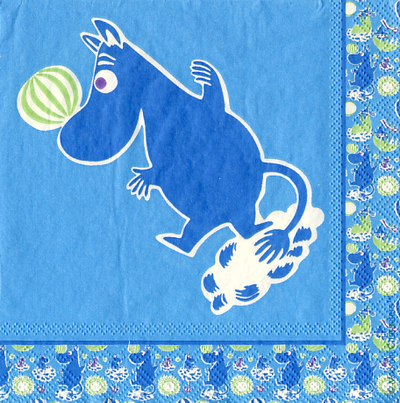 Moomin napkin 25x25cm Party, blue 20pcs