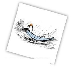 Moomin napkins 33x33, Fishing Boat
