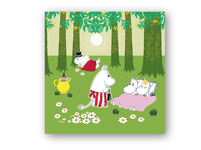 Moomin napkins 33x33cm Fresh summer, green