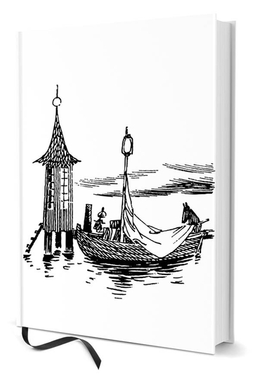 Moomin notebook Boat and Bath house A5, black/white