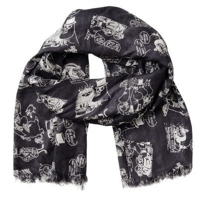 Moomin on vacation scarf, black