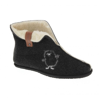 Moomin plimsolls slippers Eemu Stinky, dark grey, with inner lining