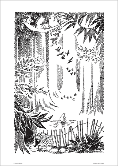 Moomin poster, Glade, BIG, black/white, 50X70