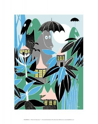 "Moomin poster ""Moomins in the jungle"" medium sized 28x30cm"