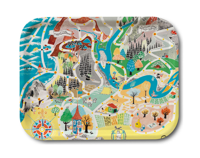 Moomin serving tray 27x20, Japan Map
