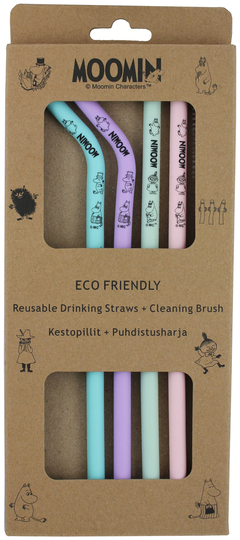 Moomin silicone reusable straws 4-set