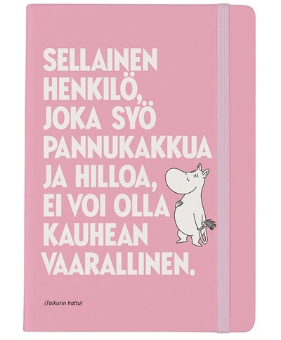"Moomin soft cover notebook, ""Pancakes & Jam"" Moomintroll, light pink"
