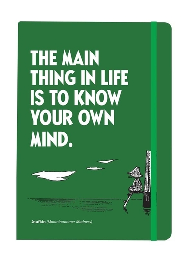 "Moomin soft cover notebook, ""The main thing in life..."", green."