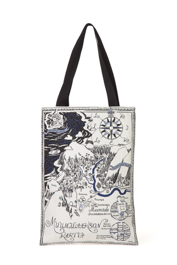 Moomin soft tapestry shoulder bag, Map of Moominvalley, blue