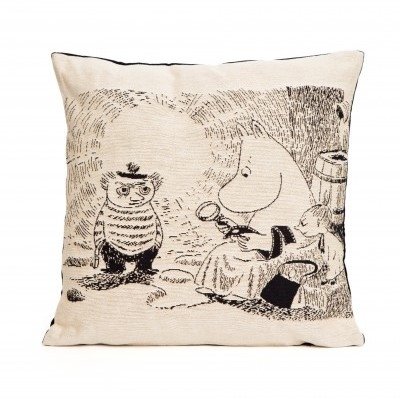 Moomin tapestry decor pillow cover, Moominmamma and magnifier