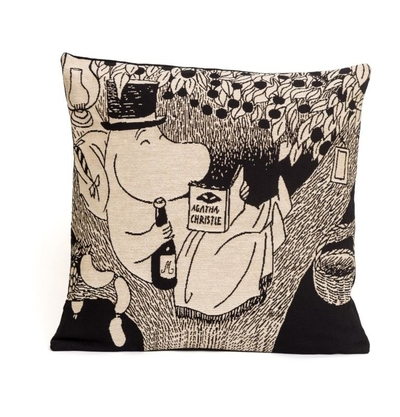 Moomin tapestry decor pillow cover, Moominpappa reading