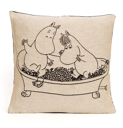 Moomin tapestry decor pillow cover, Moomins in a bathtub