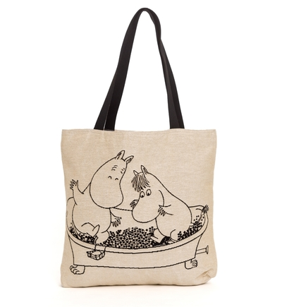Moomin tapestry shopper bag, Moomins in a bathtub