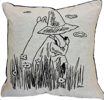 Moomin tapestry throw pillow cover, Snufkin & Moomintroll