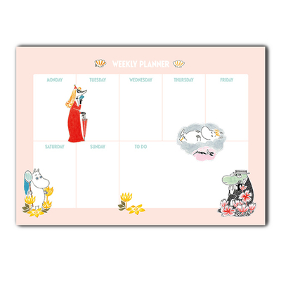 Moomin weekly calendar A4, Moomins & clams, light pink