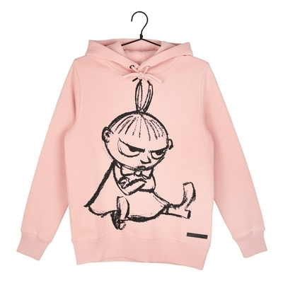 Moomin women's Little My sitting hoodie Sketch, light pink