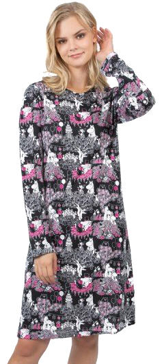 Moomin women's nightgown, Party time, black