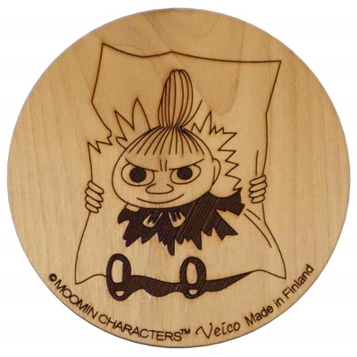 Moomin wooden coaster, Little My and paper