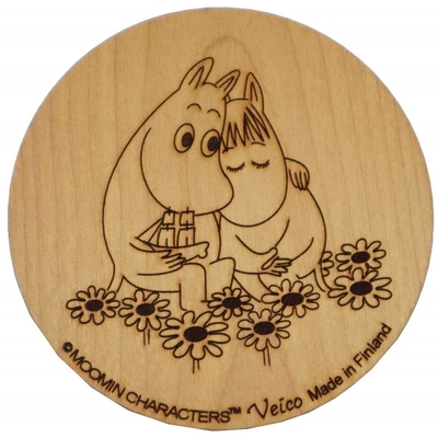Moomin wooden coaster, Moomintroll and Snorkmaiden