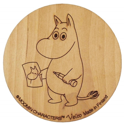 Moomin wooden coaster, Moomintroll drawing