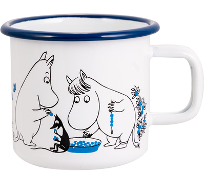 Muurla Moomin Berry forest enamel mug 3,7dl, blue