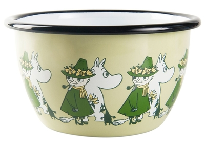 Muurla Moomin Friends enamel bowl 6dl, green