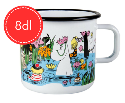 Muurla Moomin big enamel mug Trip to the Pond, 8dl