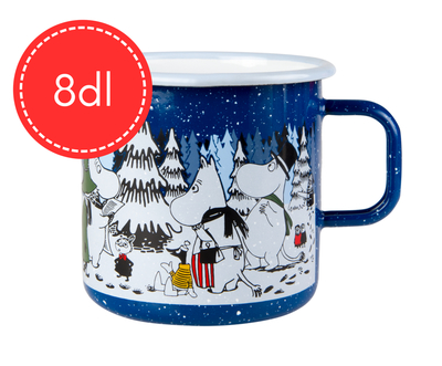 Muurla Moomin big enamel mug Winter Forest, 8dl