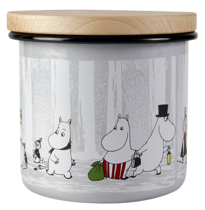 Muurla Moomin enamel jar 1,3l with wooden lid, Winter Trip
